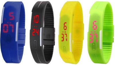 Kissu Led Magnet Band Combo of 4 Yellow, Black, Sky Blue And Green Watch  - For Men & Women