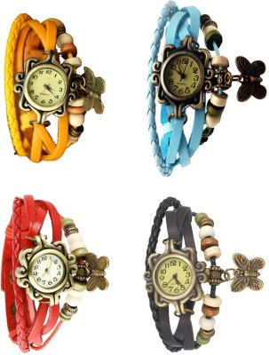 NS18 Vintage Butterfly Rakhi Combo of 4 Yellow, Red, Sky Blue And Black Watch  - For Women