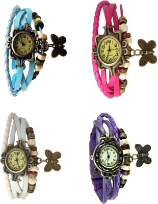 NS18 Vintage Butterfly Rakhi Combo of 4 Sky Blue, White, Pink And Purple Watch  - For Women