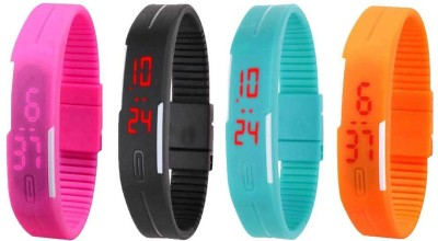 RSN Silicone Led Magnet Band Combo of 3 Orange, Yellow And Black Watch  - For Men & Women