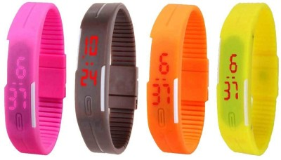 NS18 Silicone Led Magnet Band Combo of 4 Pink, Brown, Orange And Yellow Watch  - For Boys & Girls