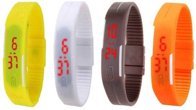 NS18 Silicone Led Magnet Band Combo of 4 Yellow, White, Brown And Orange Watch  - For Boys & Girls