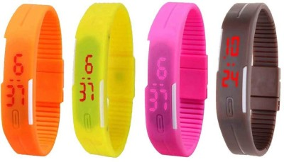 NS18 Silicone Led Magnet Band Combo of 4 Orange, Yellow, Pink And Brown Watch  - For Boys & Girls