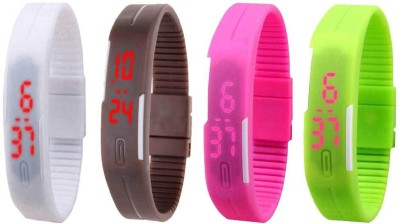 Kissu Led Magnet Band Combo of 4 White, Brown, Pink And Green Watch  - For Men & Women
