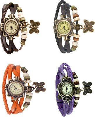 NS18 Vintage Butterfly Rakhi Combo of 4 Brown, Orange, Black And Purple Watch  - For Women