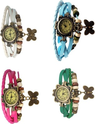NS18 Vintage Butterfly Rakhi Combo of 4 White, Pink, Sky Blue And Green Watch  - For Women