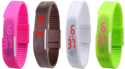 Kissu Led Magnet Band Combo of 4 Pink, Brown, White And Green Watch  - For Men & Women