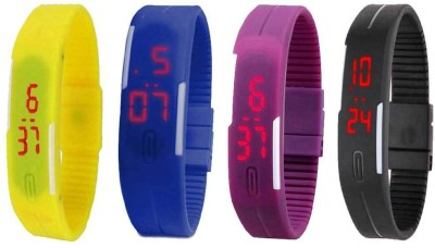 Kissu Led Magnet Band Combo of 4 Yellow, Blue, Purple And Black Watch  - For Men & Women