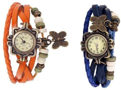 Pappi Boss Combo Offer Pack of 5 Orange, White, Sky Blue, Green & Black Vintage Leather Multi Strap Butterfly Casual Bracelet Band Watch  - For Women