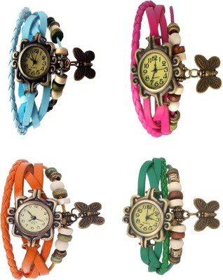 NS18 Vintage Butterfly Rakhi Combo of 4 Sky Blue, Green, Pink And Orange Watch  - For Women