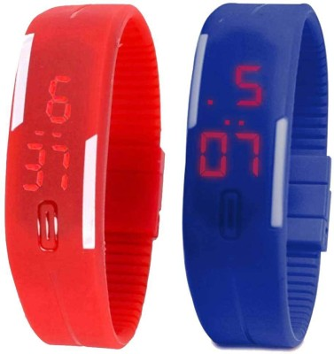 RSN Silicone Led Magnet Band Combo of 3 Purple, Red And Blue Watch  - For Men & Women