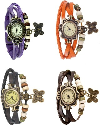 NS18 Vintage Butterfly Rakhi Combo of 4 Black, Purple, Orange And Brown Watch  - For Women