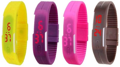 NS18 Silicone Led Magnet Band Combo of 4 Yellow, Purple, Pink And Brown Watch  - For Boys & Girls