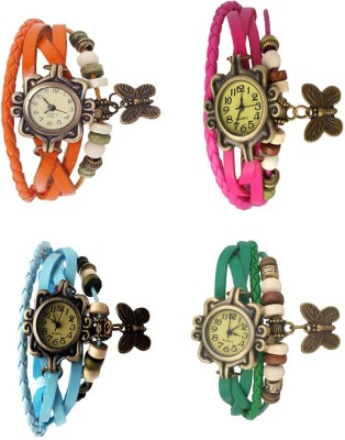 NS18 Vintage Butterfly Rakhi Combo of 4 Orange, Sky Blue, Pink And Green Watch  - For Women