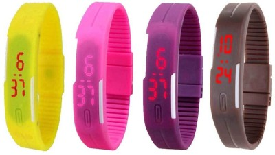 NS18 Silicone Led Magnet Band Combo of 4 Pink, Purple, Yellow And Brown Watch  - For Boys & Girls