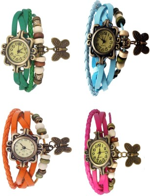 NS18 Vintage Butterfly Rakhi Combo of 4 Green, Orange, Sky Blue And Pink Watch  - For Women