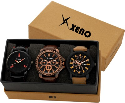 Xeno 601 604 78x New Look Fashion Stylish Chronograph Pattern Titanium Triple Combo Pack Of 3 Slim Dial for men Analog Watch   For Men