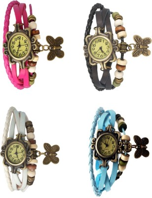 NS18 Vintage Butterfly Rakhi Combo of 4 Pink, White, Black And Sky Blue Watch  - For Women