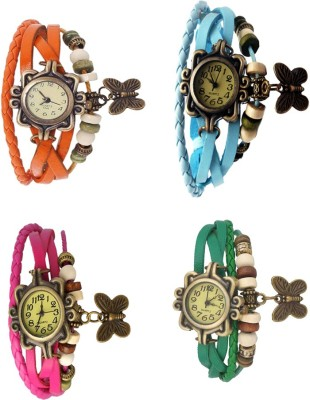 NS18 Vintage Butterfly Rakhi Combo of 4 Orange, Pink, Sky Blue And Green Watch  - For Women