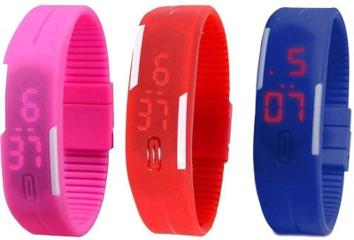 RSN Silicone Led Magnet Band Combo of 2 Red And Blue Watch  - For Men & Women