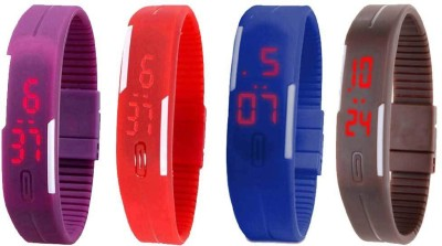 Kissu Led Magnet Band Combo of 4 Blue, Purple, Red And Brown Watch  - For Men & Women