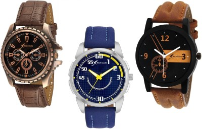 Rich Club Set Of 3  Casual+Party Wear+Formal  Genuine Leather Belt Analog Watch   For Men Rich Club Wrist Watches