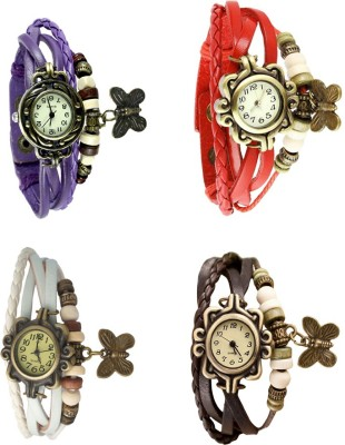 NS18 Vintage Butterfly Rakhi Combo of 4 White, Green, Brown And Red Watch  - For Women
