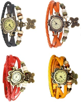 NS18 Vintage Butterfly Rakhi Combo of 4 Black, Red, Orange And Yellow Watch  - For Women