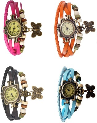 NS18 Vintage Butterfly Rakhi Combo of 4 Pink, Black, Orange And Sky Blue Watch  - For Women