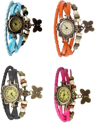 NS18 Vintage Butterfly Rakhi Combo of 4 Orange, Pink, Black And Sky Blue Watch  - For Women