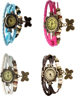 NS18 Vintage Butterfly Rakhi Combo of 4 Green, Sky Blue, Pink And White Watch  - For Women