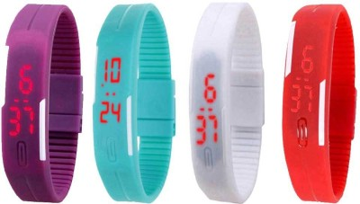 Kissu Led Magnet Band Combo of 4 Purple, Sky Blue, White And Red Watch  - For Men & Women