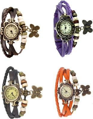 NS18 Vintage Butterfly Rakhi Combo of 4 Black, Brown, Purple And Orange Watch  - For Women