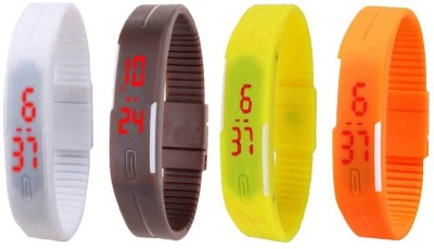 NS18 Silicone Led Magnet Band Combo of 4 Orange, White, Brown And Yellow Watch  - For Boys & Girls