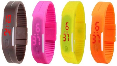 NS18 Silicone Led Magnet Band Combo of 4 Orange, Pink, Brown And Yellow Watch  - For Boys & Girls