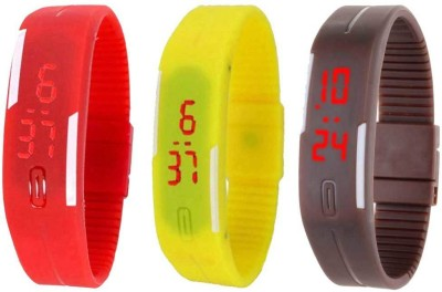 RSN Silicone Led Magnet Band Combo of 3 Red, Yellow And Brown Watch  - For Men & Women