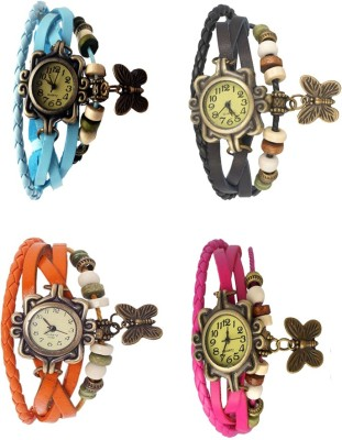 NS18 Vintage Butterfly Rakhi Combo of 4 Sky Blue, Orange, Black And Pink Watch  - For Women