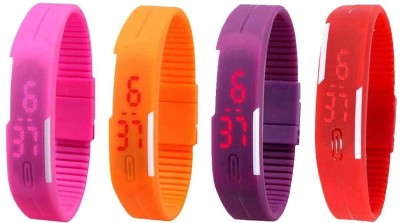 NS18 Silicone Led Magnet Band Watch Combo of 4 Pink, Red, Orange And Purple Watch  - For Couple