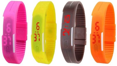 NS18 Silicone Led Magnet Band Combo of 4 Pink, Yellow, Brown And Orange Watch  - For Boys & Girls
