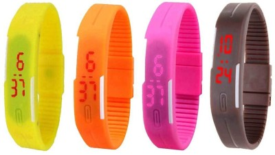 NS18 Silicone Led Magnet Band Combo of 4 Yellow, Brown, Pink And Orange Watch  - For Boys & Girls