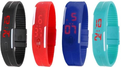 NS18 Silicone Led Magnet Band Watch Combo of 4 Black, Red, Blue And Sky Blue Watch  - For Couple