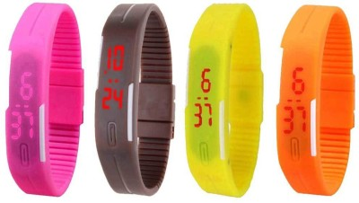 NS18 Silicone Led Magnet Band Combo of 4 Pink, Brown, Yellow And Orange Watch  - For Boys & Girls