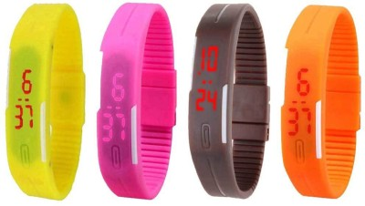 NS18 Silicone Led Magnet Band Combo of 4 Yellow, Pink, Brown And Orange Watch  - For Boys & Girls