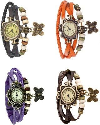 NS18 Vintage Butterfly Rakhi Combo of 4 Purple, Black, Orange And Brown Watch  - For Women