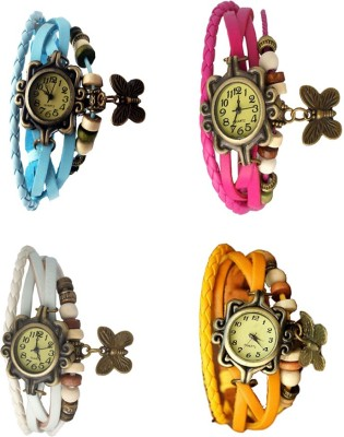 NS18 Vintage Butterfly Rakhi Combo of 4 Sky Blue, White, Pink And Yellow Watch  - For Women