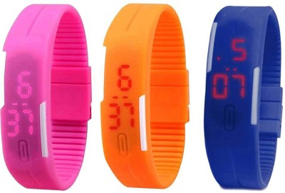 RSN Silicone Led Magnet Band Combo of 3 Pink, Orange And Blue Watch  - For Men & Women
