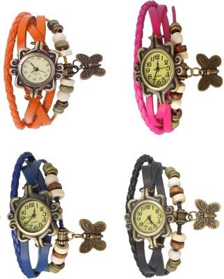 NS18 Vintage Butterfly Rakhi Combo of 4 Orange, Blue, Pink And Black Watch  - For Women