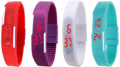 Kissu Led Magnet Band Combo of 4 Purple, White, Sky Blue And Red Watch  - For Men & Women