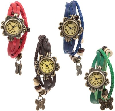 Felizo Bracelet Vintage Style Pack of 4 Analog Watch  - For Girls