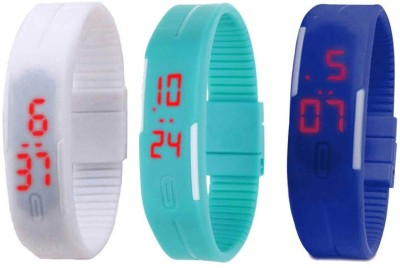 NS18 Silicone Led Magnet Band Combo of 3 White, Sky Blue And Blue Watch  - For Boys & Girls